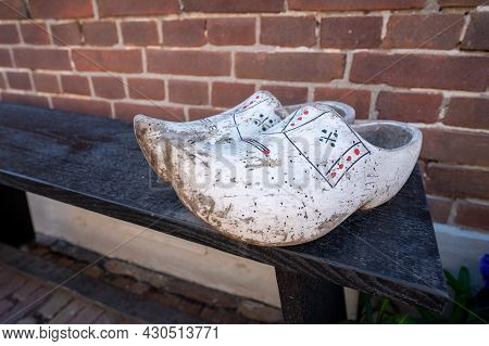 Old Vontage Dutch Wooden Clogs, Footwear, Close Up