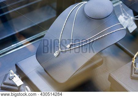 Jewelry Diamond Necklace In Shop Window Display