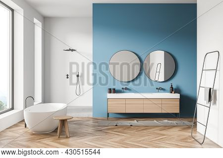 Bathroom Interior With On Trend Tub, Stool, Two Round Mirrors With Vanity, White Shower Area, Panora