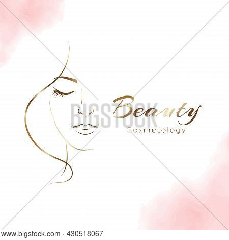 Vector Woman In Gold Profile Template Logo Or Abstract Concept For Beauty Salons. Cosmetics, Medical