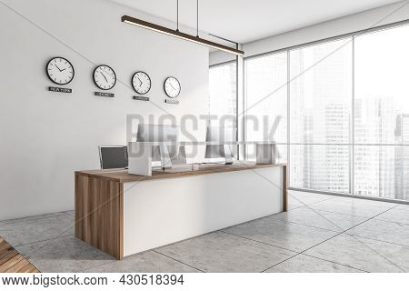 Office Room Interior With Reception, Panoramic Window With Singapore City Skyscraper View, Computers
