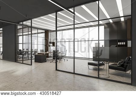 Ceo Office Interior With Glass Black Framed Wall Partitions, Led Linear Lights, Two On Trend Cabinet