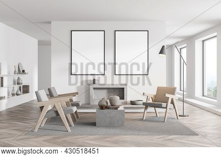 Waiting Room Interior With Two Mockup Posters, Three Armchairs, Fireplace, Coffee Table, Floor Lamp,