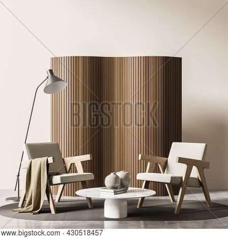 Living Room Interior With Two Comfortable Armchairs, Cozy Coffee Table, Grey Carpet, Crockery, Woode