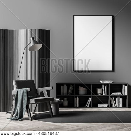 Dark Living Room Interior With White Empty Poster, Comfortable Armchair, Coffee Table, Grey Carpet,