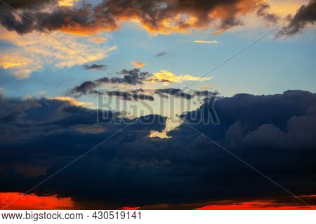 Dark Clouds In The Dusk . Colorful Heaven With Twilight