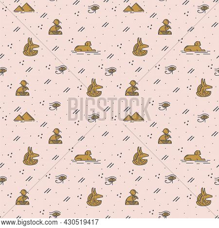 A Pattern With Egyptian Elements And The Gods Of The Ancient World. A Mythological Pattern In The St