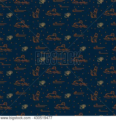 A Pattern With Egyptian Elements And Motifs Of The Ancient World. Mythological Pattern Pattern With