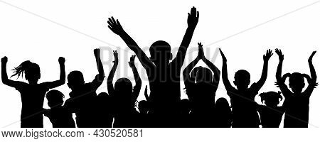 Cheerful And Applauding Crowd Of Children, Black Silhouette. Vector Illustration