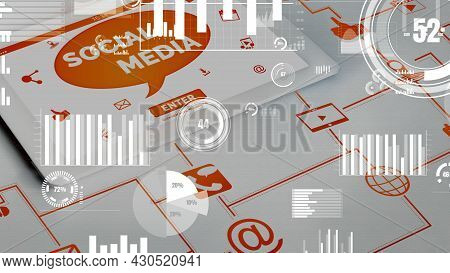Social Media And Young People Network Conceptual . Modern Graphic Interface Showing Online Social Co