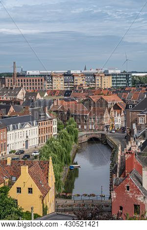 Gent, Flanders, Belgium - July 30, 2021: Aerial View On Stretch Of Lieve River Along Augustijnenkaai