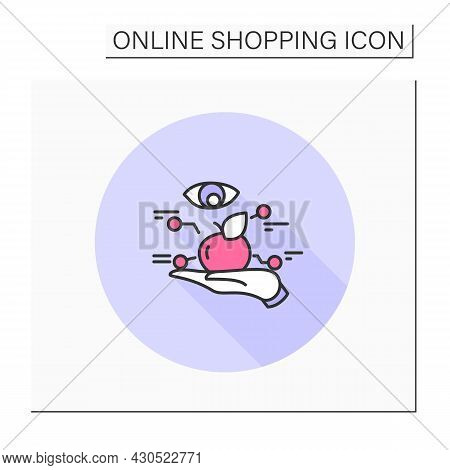 Review Color Icon. Product Review Button For Mobile Retail Store. Hand Examining Goods. Customer Rat