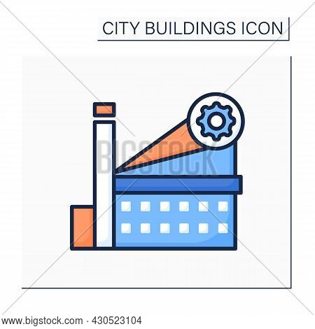 Factory Color Icon.plant Building With Steaming Chimney And Gear. Concept Of Industrial Production A