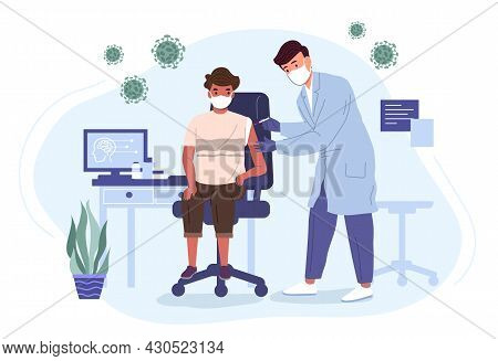 Doctor In A Medical Gown And Mask Vaccinates A Boy With A Coronavirus Vaccine. Medicine And Health C