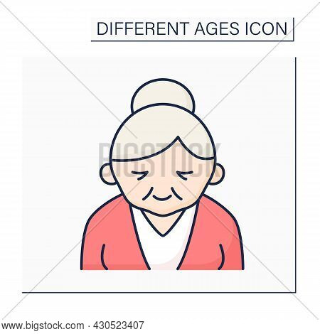 Senior Color Icon. Life Cycle. Old Woman. Retirement. Different Ages Concept. Isolated Vector Illust