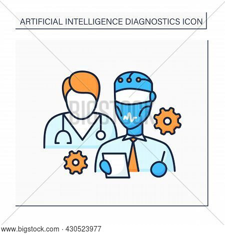 Ai In Medicine Color Icon. Robot And Doctor Improve Medical Sphere. Modern Technologies Help People.