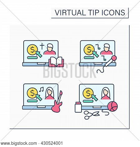 Virtual Tips Color Icons Set. Online Contributions For Priest, Musicians, Singers And Craft Hobby Cr