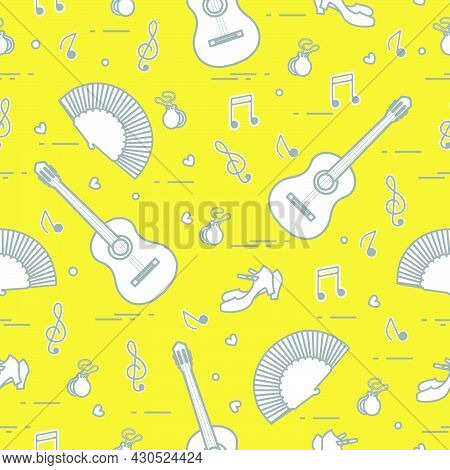 Seamless Pattern With Fan, Shoes, Castanets, Notes, Guitars. Travel And Leisure. Traditional Symbols