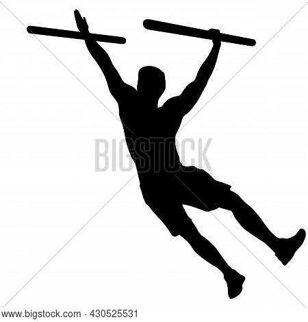 Silhouette Of A Pull Up Workout Steps On A White Background