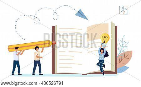 Creative Teamwork And Innovative Project Job Development Book Author Writing Script And Novel Tiny B