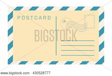 Vector Vintage Postcard Template Isolated On White Background. Empty Old Fashioned Retro Post Card