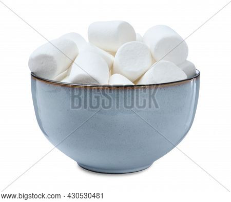Delicious Puffy Marshmallows In Bowl On White Background