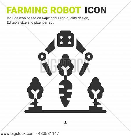 Farming Robot Icon Vector With Glyph Style Isolated On White Background. Vector Illustration Robot A