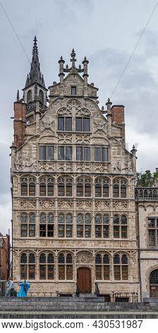 Gent, Flanders, Belgium - July 30, 2021: Closeup Of Huis Van De Vrije Schippers (house Of The Free S