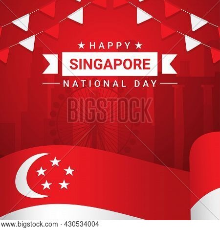 Vector Illustration August 9th Singapore's Independence Day. City-state Singapore National Day. Cele