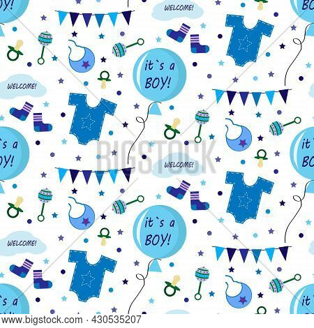 Pattern With Balloons For The Birth Of A Boy. Festive Drawing With Clothes, Toys And Flags. Vector I
