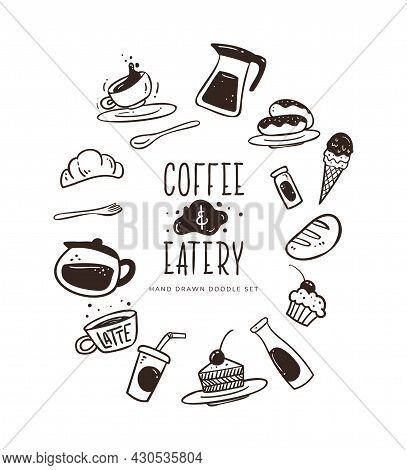 Hand Drawn Coffee And Eatery Doodle Set.