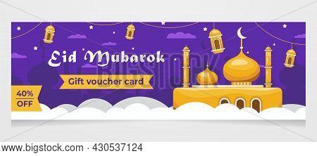 Ramadan Mubarak Sale Web Banner Or Header Design, Gift Card Voucher Eid Mubarok.