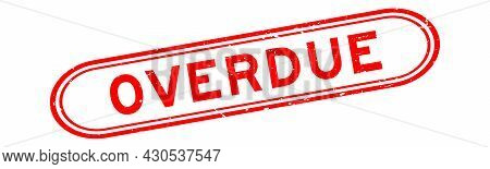 Grunge Red Overdue Word Rubber Seal Stamp On White Background