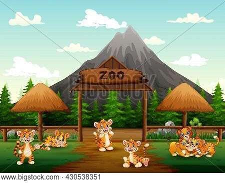 Cartoon Wild Animals Playing In The Zoo Open