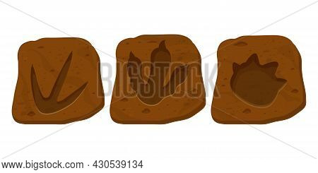 Set Dinosaur Fossil, Paw Print, Reptile Foot Trail In Cartoon Style Isolated On White Background. Ar