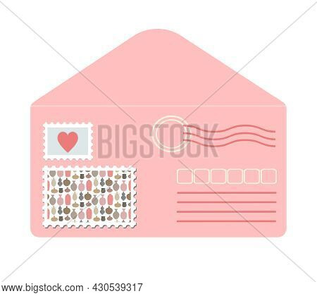 Pink Envelope Front In Flat Style Decorated With Postage Stamps And Seals. Cute Romantic Love Letter