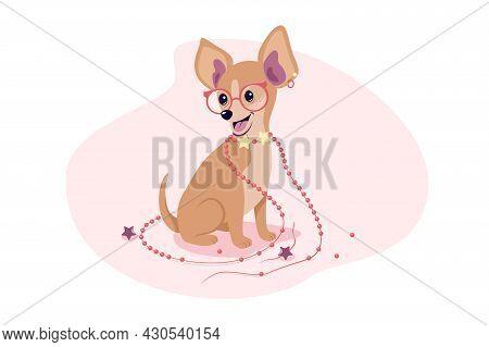 Cute Domestic Pet With Accessory Vector Illustration. Chihuahua Breed With Glasses And Collar Flat S