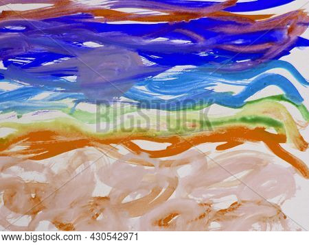 Abstract Watercolor Pattern Of Strokes And Lines, With Thick Brush Strokes And Thin Stripes Drawn By