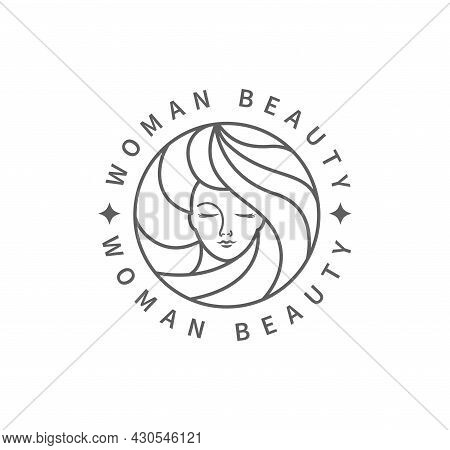 Woman Beauty Fashion Logo. Black And White Template Design In Minimal Style, Emblem For Beauty Studi