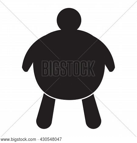 Fat People Icon On White Background. Fat Man Sign. Overweight Man Symbol. Flat Style.