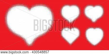 White Heart Halftone Dots Logo Set. Love Insignia. Health Heart Emblem. Valentine Frame. Vector Illu