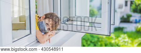 Banner, Long Format Extremly Tired Boy Looking Out The Window, Home Alone. Self-isolation At Home, Q