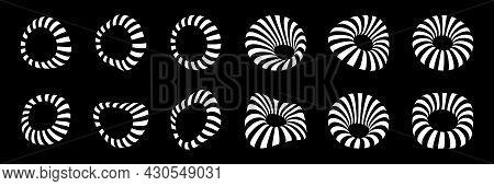 White 3d Circular Striped Frames Set. Three Dimensional Stripy Distort Shapes. Logo Design Element F