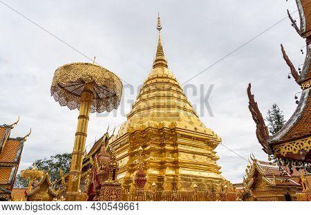 Beautiful Golden Pagoda In Wat Phra That Doi Suthep, Chiangmai Thailand.