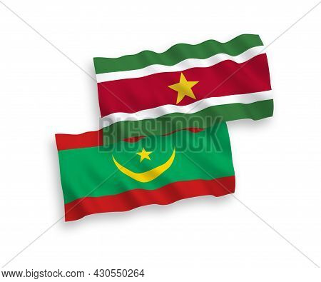 National Fabric Wave Flags Of Islamic Republic Of Mauritania And Republic Of Suriname Isolated On Wh