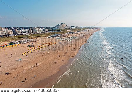 Aerial from the beach in Noordwijk aan Zee in the Netherlands on a beautiful summer day