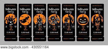 Halloween Invitation Tickets Set. Vector Ticket Design Template For Halloween Party. Club Invitation