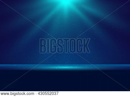 3d Realistic Dark Blue Stage With Illuminated Lighting And Dust Scene Background For Award Ceremony,