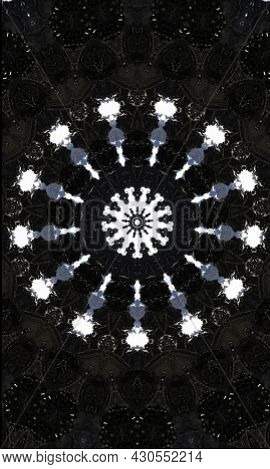 Noir Kaleidoscope. Black And White Seamless Pattern. Can Be Used For Coloring Book Page Design,anti