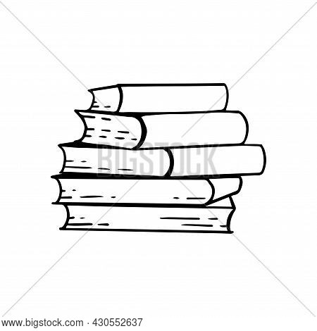 Books Stack Sketch On A White Isolated Background. Hand-drawn Library Literature. Vector Illustratio